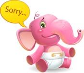 Baby Elephant Vector Cartoon Character - Feeling sorry