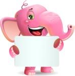 Baby Elephant Vector Cartoon Character - Holding a Big Blank banner