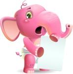 Baby Elephant Vector Cartoon Character - Holding a Blank banner
