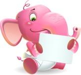 Baby Elephant Vector Cartoon Character - Holding a Blank sign