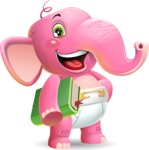 Baby Elephant Vector Cartoon Character - Holding a book