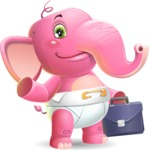 Baby Elephant Vector Cartoon Character - Holding a briefcase