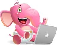 Baby Elephant Vector Cartoon Character - Holding a laptop