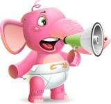 Baby Elephant Vector Cartoon Character - Holding a Loudspeaker