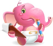 Baby Elephant Vector Cartoon Character - Holding a notepad with pencil