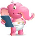 Baby Elephant Vector Cartoon Character - Holding a notepad