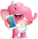 Baby Elephant Vector Cartoon Character - Holding a smartphone