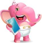 Baby Elephant Vector Cartoon Character - Holding an iPad