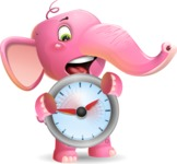 Baby Elephant Vector Cartoon Character - Holding clock