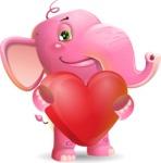 Baby Elephant Vector Cartoon Character - Holding heart