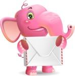 Baby Elephant Vector Cartoon Character - Holding mail envelope