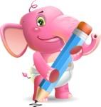 Baby Elephant Vector Cartoon Character - Holding Pencil
