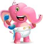 Baby Elephant Vector Cartoon Character - Holding phone with thumbs up