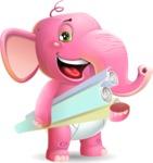 Baby Elephant Vector Cartoon Character - Holding Plans