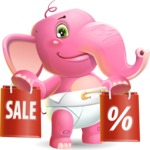 Baby Elephant Vector Cartoon Character - Holding shopping bags
