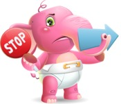 Baby Elephant Vector Cartoon Character - Holding Stop sign with angry face and pointing