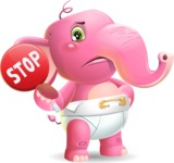 Baby Elephant Vector Cartoon Character - Holding Stop sign