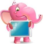 Baby Elephant Vector Cartoon Character - Holding tablet