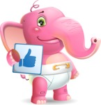 Baby Elephant Vector Cartoon Character - Holding Thumbs Up sign