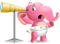 Baby Elephant Vector Cartoon Character - Looking through telescope