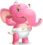 Baby Elephant Vector Cartoon Character - Making a Duckface for a selfie