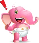 Baby Elephant Vector Cartoon Character - Making a point