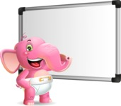 Baby Elephant Vector Cartoon Character - Making a Presentation on a Blank white board