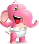 Baby Elephant Vector Cartoon Character - Making Funny face