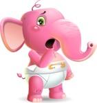 Baby Elephant Vector Cartoon Character - Making Oops gesture