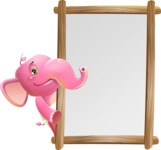 Baby Elephant Vector Cartoon Character - Making peace sign with Big Presentation board