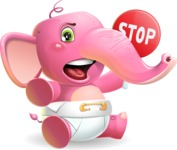 Baby Elephant Vector Cartoon Character - Making stop gesture with both hands