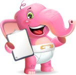 Baby Elephant Vector Cartoon Character - Making thumbs up with notepad