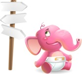 Baby Elephant Vector Cartoon Character - on a Crossroad with sign pointing in all directions