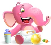 Baby Elephant Vector Cartoon Character - Playtime