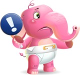 Baby Elephant Vector Cartoon Character - Pointing with a fnger
