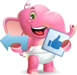 Baby Elephant Vector Cartoon Character - Pointing with arrow and holding thumbs up sign