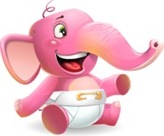 Baby Elephant Vector Cartoon Character - Pointing with left hand