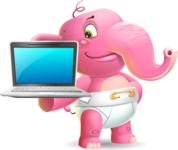 Baby Elephant Vector Cartoon Character - Presenting on laptop