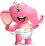 Baby Elephant Vector Cartoon Character - Presenting with both hands