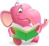 Baby Elephant Vector Cartoon Character - Reading a book