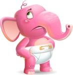 Baby Elephant Vector Cartoon Character - Rolling Eyes