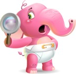 Baby Elephant Vector Cartoon Character - Searching with magnifying glass