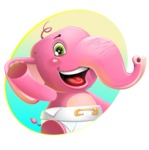 Baby Elephant Vector Cartoon Character - Shape 1