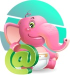 Baby Elephant Vector Cartoon Character - Shape 10