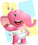 Baby Elephant Vector Cartoon Character - Shape 12