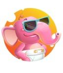Baby Elephant Vector Cartoon Character - Shape 2