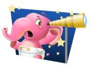 Baby Elephant Vector Cartoon Character - Shape 4