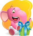 Baby Elephant Vector Cartoon Character - Shape 5