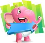 Baby Elephant Vector Cartoon Character - Shape 8