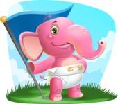 Baby Elephant Vector Cartoon Character - Shape 9